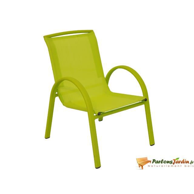 Fauteuil enfant tutti fruitti empilable vert anis for Chaise jardin vert anis