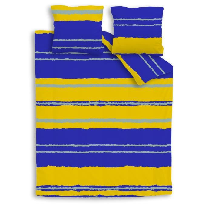 parure de lit color e ray e jaune et bleue tout en coton pour enfant sonic bleu achat. Black Bedroom Furniture Sets. Home Design Ideas