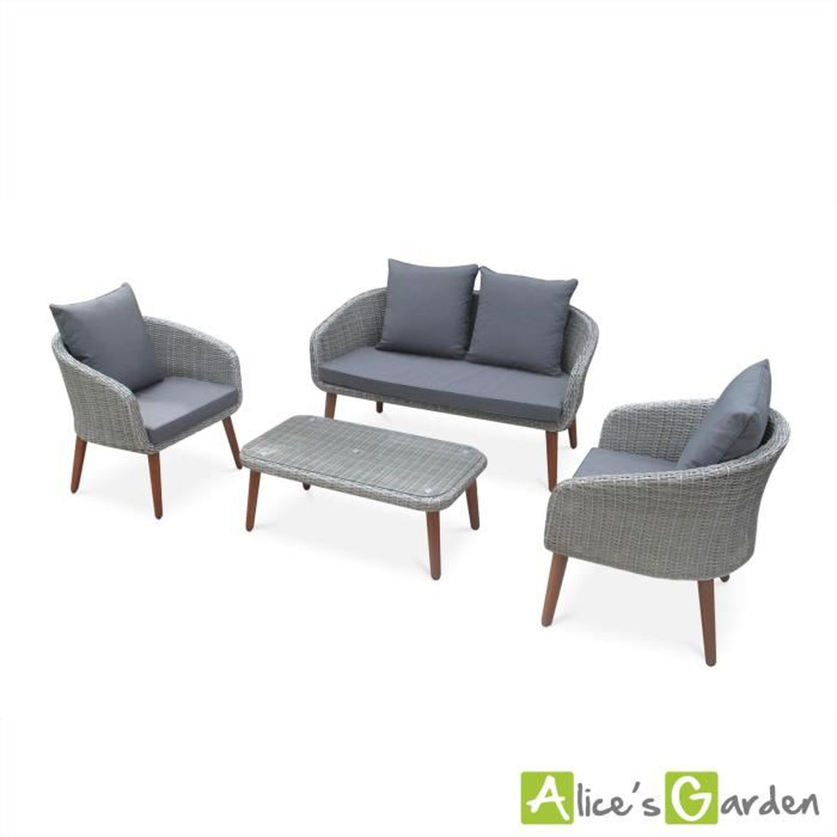 salon de jardin grenada en bois coussins gris clair 4 places assises 4 l ments achat. Black Bedroom Furniture Sets. Home Design Ideas