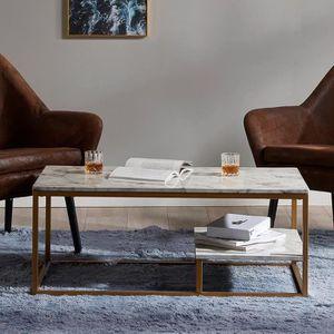 TABLE BASSE Table basse moderne en bois effet marbre pour salo