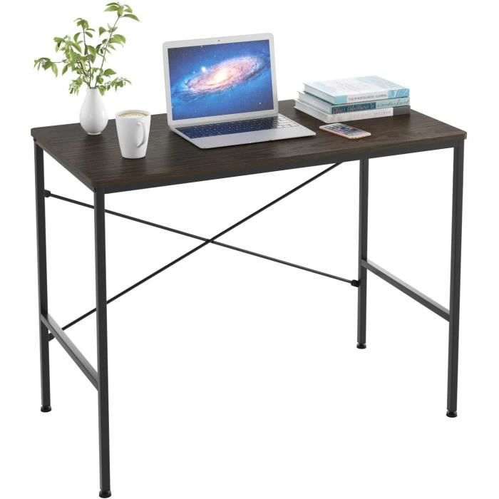 Table d'ordinateur Table de bureau en Bois métal stable au design industriel noir grand 100 x 52 x 76cm