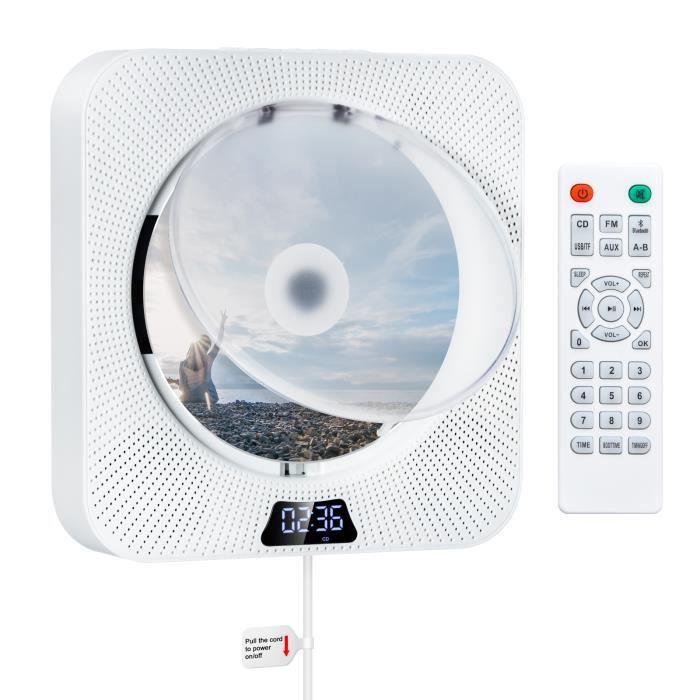 Lecteur CD enfant,Lecteur CD mural avec Bluetooth intégré 2 haut parleurs HiFi affichage LCD Audio à domicile Boombox - Type WHITE