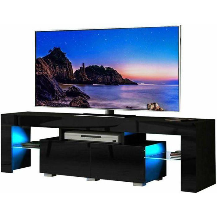 Meuble TV LED Moderne,Meuble TV avec étagères en verre et tiroir,Couleur Noir,130 cm
