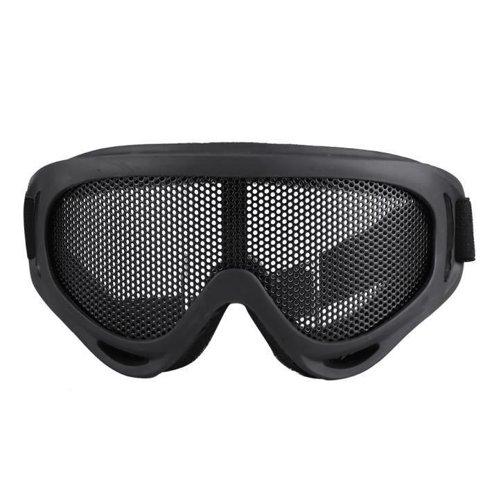 X400 Tactics Mesh Goggles Lentilles en acier Lunettes de soleil Airsoft Outdoor Paintball Eyewear Noir-GUA