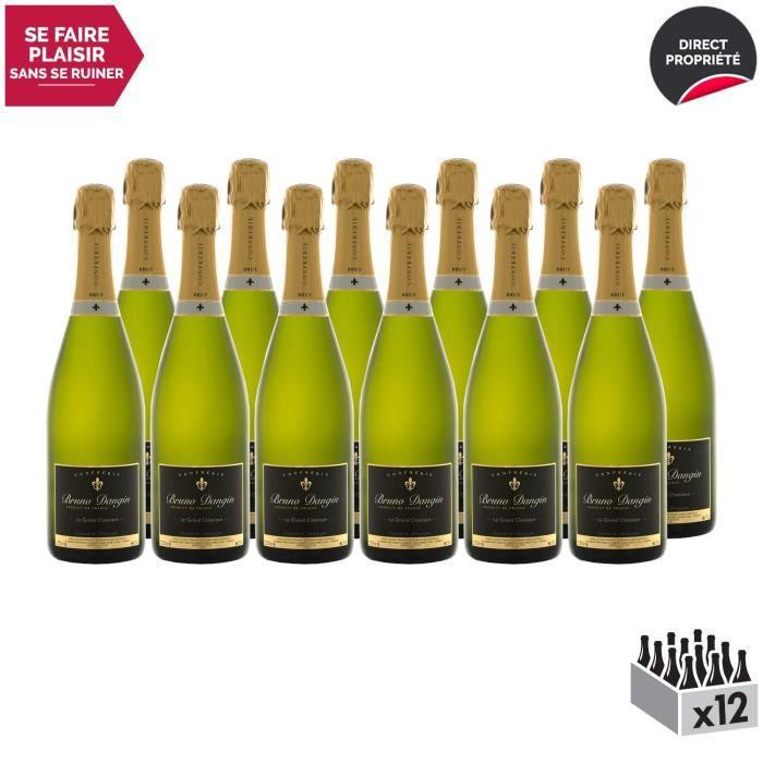 Crémant de Bourgogne Le Grand Classique Brut Blanc - Lot de 12x75cl - Bruno Dangin - Vin effervescent AOC Blanc de Bourgogne -