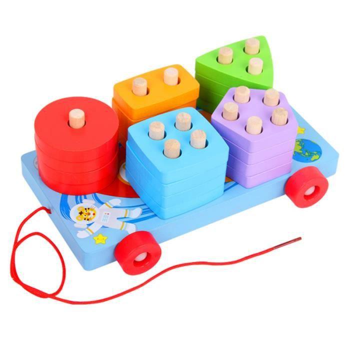 1 jeu de jouet éducatif sûr chic en bois trieur de forme chariot à plat VEHICULE A CONSTRUIRE - ENGIN TERRESTRE A CONSTRUIRE