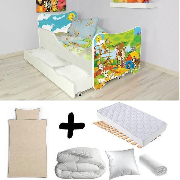 Pack complet Lit tiroir junior Animaux de la ferme = Lit+Matelas & Parure+Couette+Oreiller