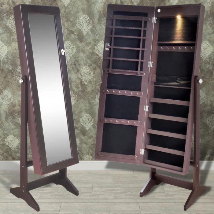 Miroir Psyché Sur Pied : Armoire à Bijoux Verrouillable - Éclairage LED - Design Intemporel - Angle Réglable - Brun - 46*37*146 Cm