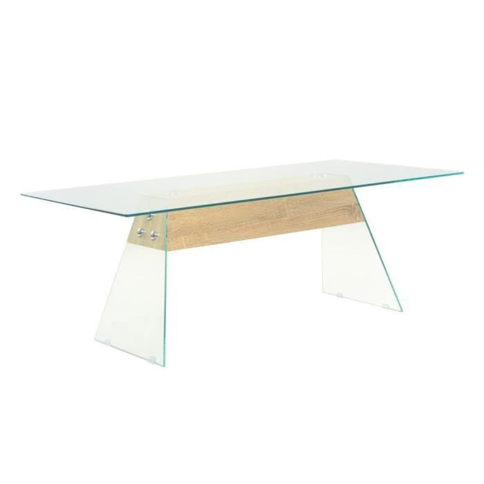 Table Basse contemporain Table de Salon Table d'appoint meuble tv MDF et verre 110 x 55 x 40 cm Couleur de chêne