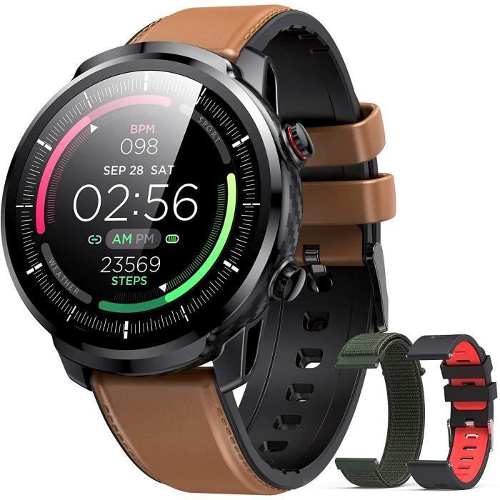 Hommie Montre Connectée Homme Smartwatch Sport Etanche IP68 Bracelet Connecté Tensiomètre Oxymètre Cardiofréquencemètre Podomètre Fi