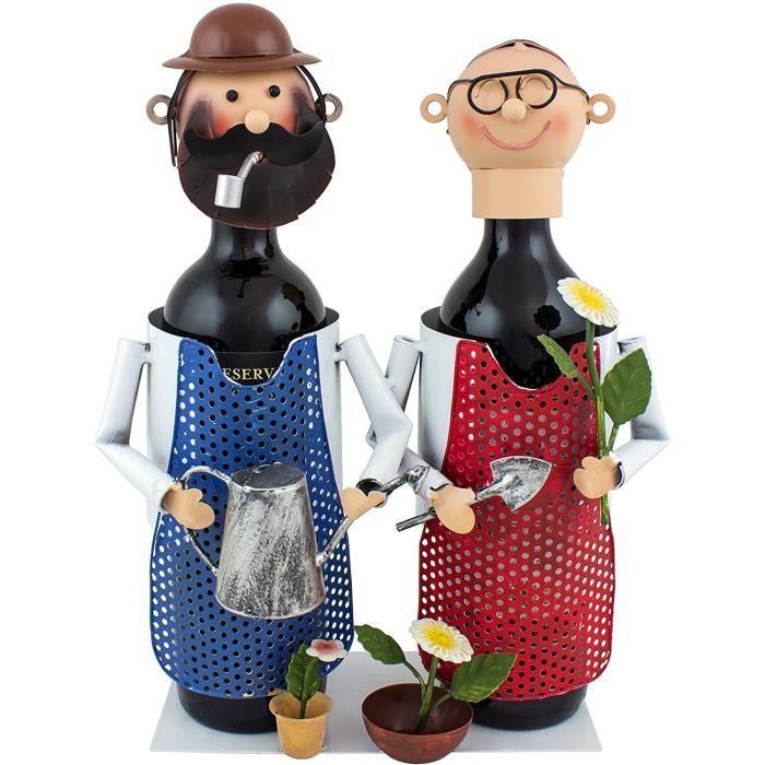 COFFRET CADEAU VIN BRUBAKER Porte-bouteille de vin - Couple dans jardin-Jardiniers - M&eacutetal - Carte de v&oeligux incluse 144
