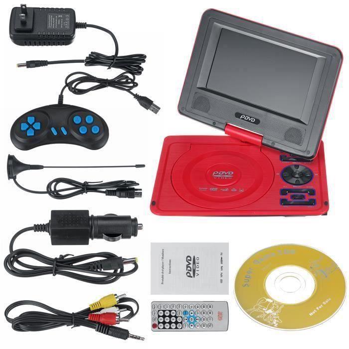 TEMPSA Lecteur DVD Portable 7.8 Pouces HD TV VCD CD USB 270° Rotation Écran Rechargeable Rouge