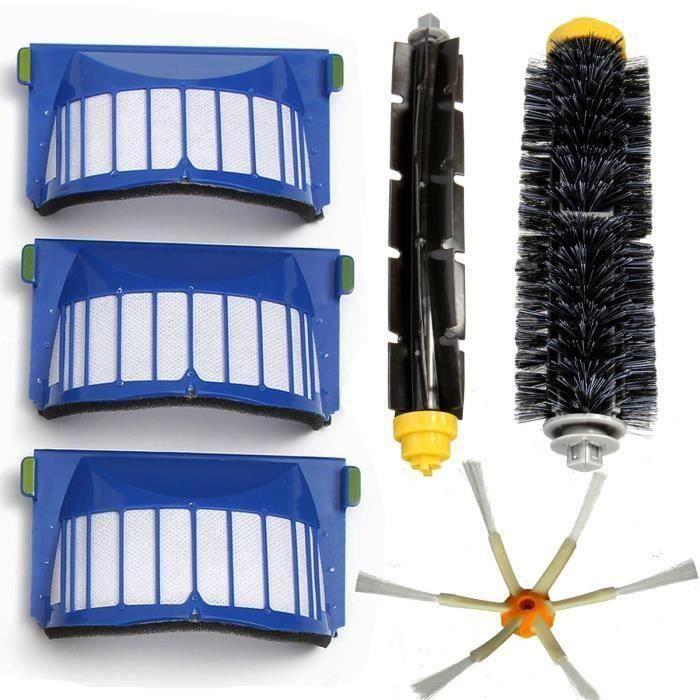 Kit Filtre Brosse 6 Bras pour Aero Vac iRobot Roomba 600 Series 620 630 650 660 Wir66