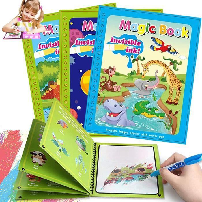 3 Packs Magic Water awing Book Réutilisable avec 3 Pcs Magic Pen, Water Doodle Mat Kids Painting Writing Doodle Toy Board Birt A251