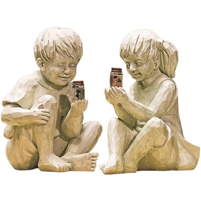 Figurines Décor Extérieur Statue Réaliste Enfants à La Recherche De Résine Imperméable Adorable Jardin Garçon Sculpture Extérieur Ja