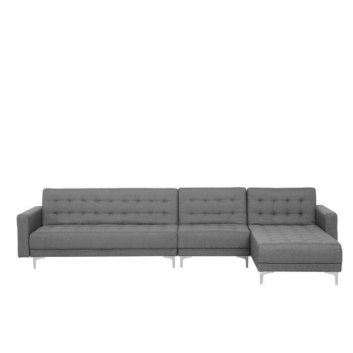 Canapé d'angle gauche modulable en tissu gris clair ABERDEEN