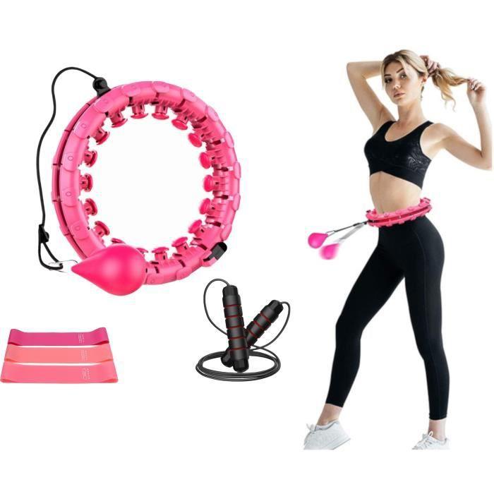 Pack HULA HOOP Fitness, Cerceau Poids, Lesté - BANDE ELASTIQUE de Résistance Yoga - CORDE À SAUTER Perte de Poids & Graisse, Cardio