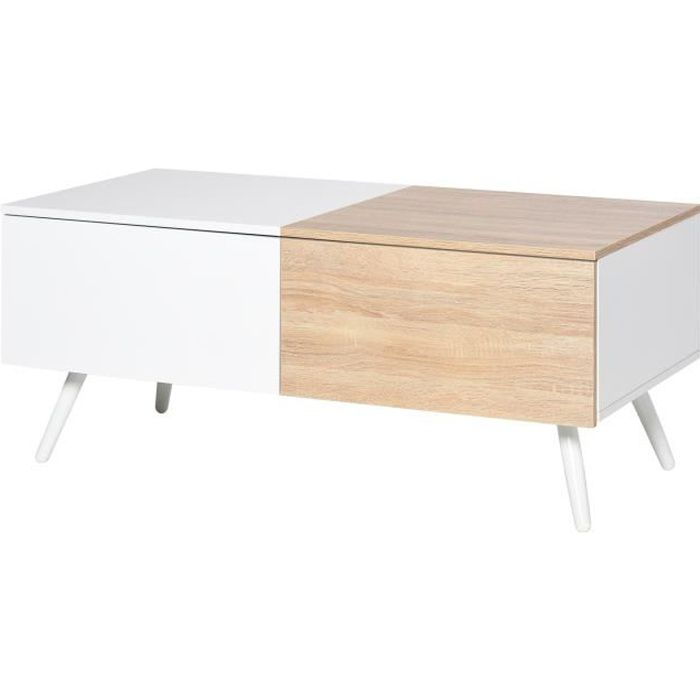 Table basse rectangulaire 2 grands tiroirs coulissants pieds métal blanc MDF bicolore blanc bois clair avec veinage
