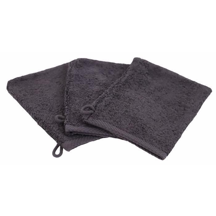 LINANDELLE - Lot de 3 gants de toilette coton eponge luxe ESSENTIELLE - Gris foncé