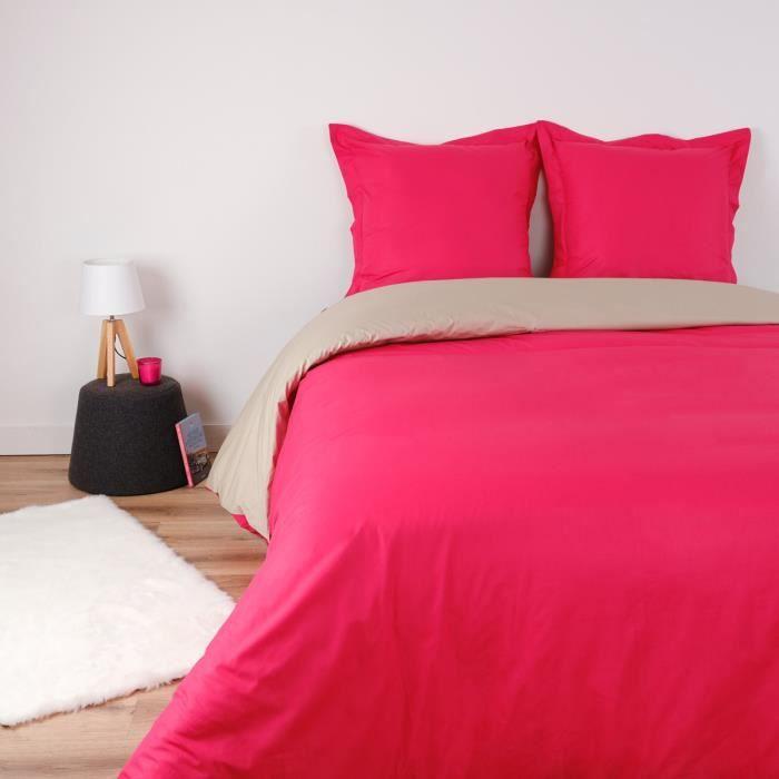 LINANDELLE - Housse de couette unie coton percale et taie VAELIA - Rose rouge - 220x240 cm