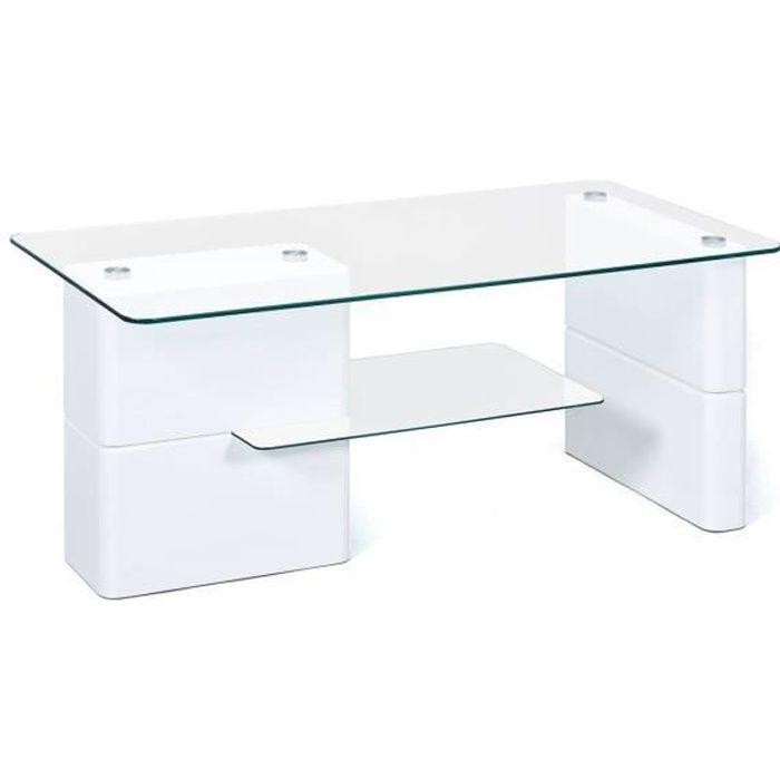 Table basse blanc brillant plateaux en verre sécurit transparent pour votre salon