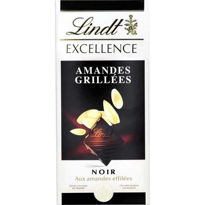 Lindt tablette de chocolat Excellence noir amandes 100g