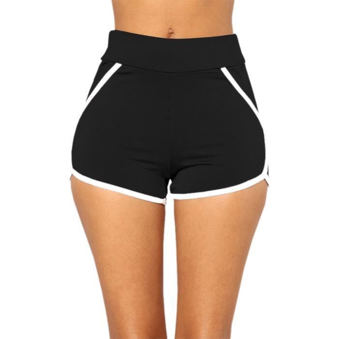 Pantalons d'été femme Shorts de sport Gym Workout Waistband Shorts de course Yoga-1299