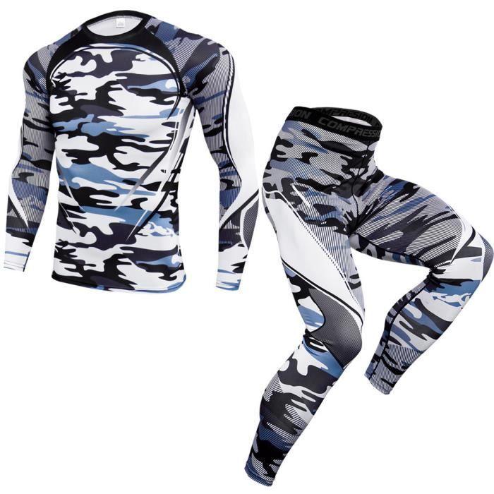 Ensemble de vêtements de sport homme 2 pièces T shirt+ pantalon leggings de compression pour basketball fitness de Marque