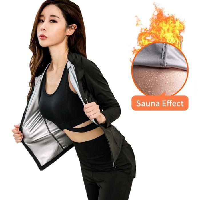 SURENHAP Combinaison Vêtement Top de sudation pour femme Vêtements de survêtement de fitness slim de perte de poids