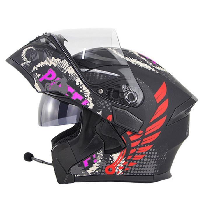 Casque de moto modulable double lentilles casque Bluetooth de sécurité hommes casque de scooter femmes, Michel rouge