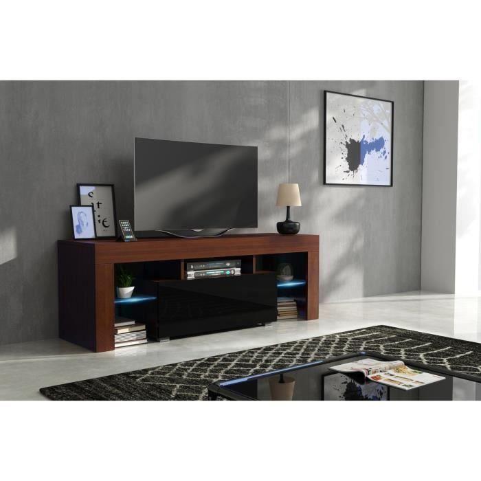 Meuble tv 130 cm corps noyer mat et porte laquée noir avec led
