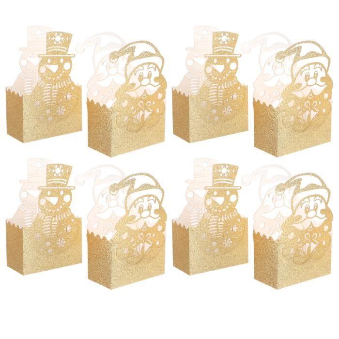 20pcs Christmas Gold Folding Gift Box Portable Xmas Sweets Packing Boxes bonbons cremeux confiserie chocolat