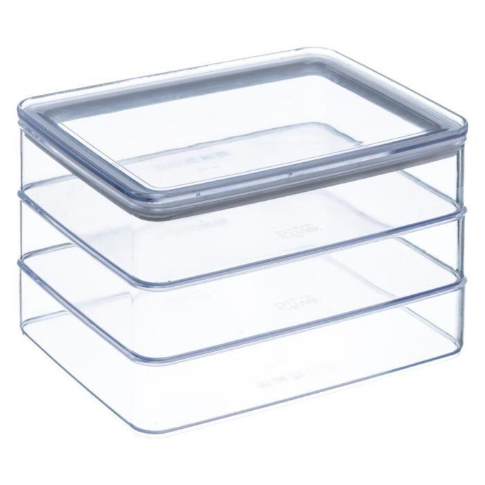 Secret de Gourmet - Lot de 3 boîtes à charcuterie Eske L, 20 x l, 15 x H, 12 cm Blanc