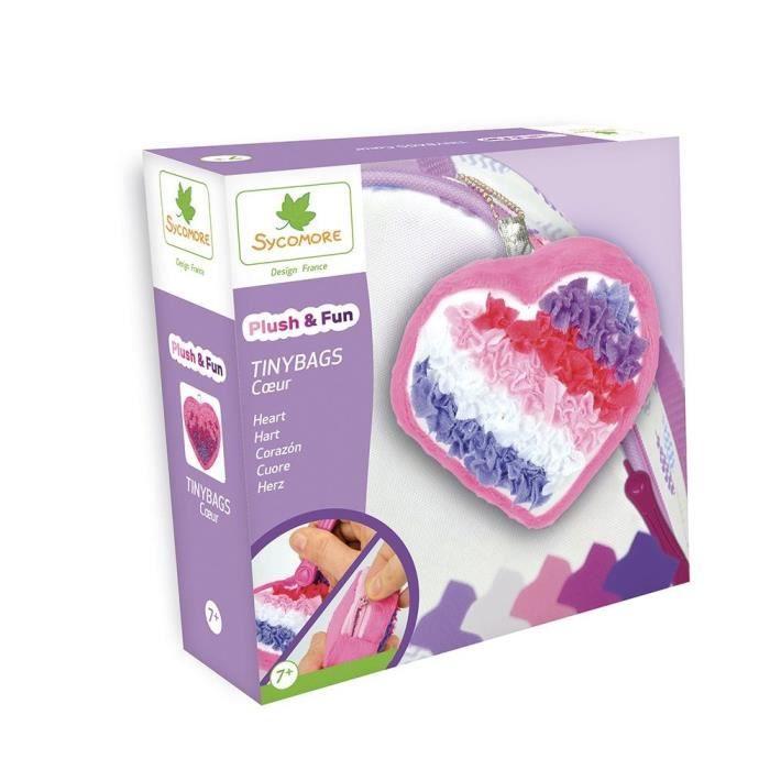SYCOMORE Plush'n fun tinybags Cœur - 1 sac porte clé - 1 outil - 500 pièces de tissu - 3 accessoires - 1 notice