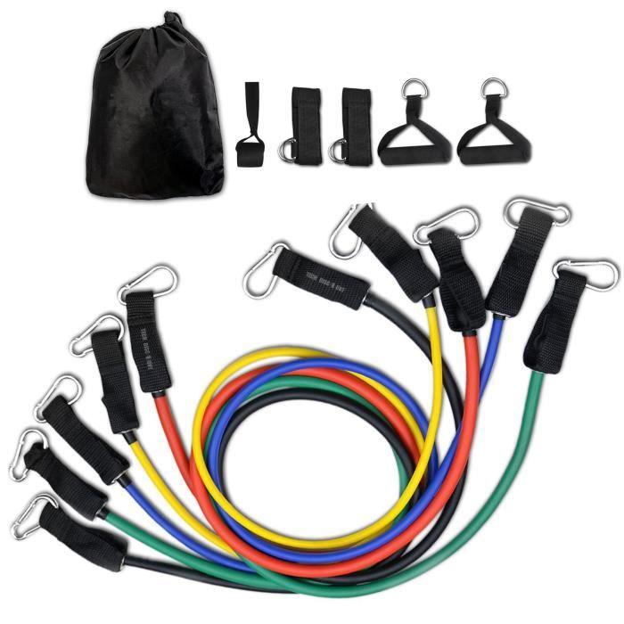 TD® Bande de Résistance- Élastiques Musculation Set- Latex Fitness Exercice - Kit avec Ancre de Porte-Poignées-Sangle de Cheville