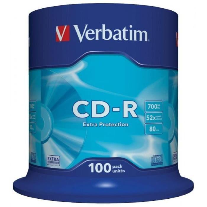 CD-R 80 Verbatim 52x DL Pack de 100 pièces Cakebox 43411