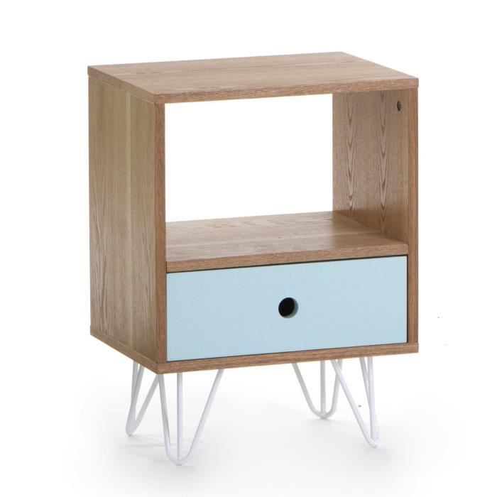 Table de chevet 1 tiroir esprit scandinave coloris for Table de chevet bebe