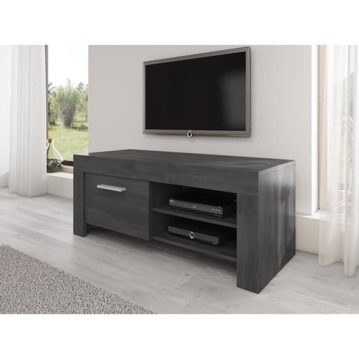 rome meuble tv contemporain d cor ch ne noir 120 cm. Black Bedroom Furniture Sets. Home Design Ideas