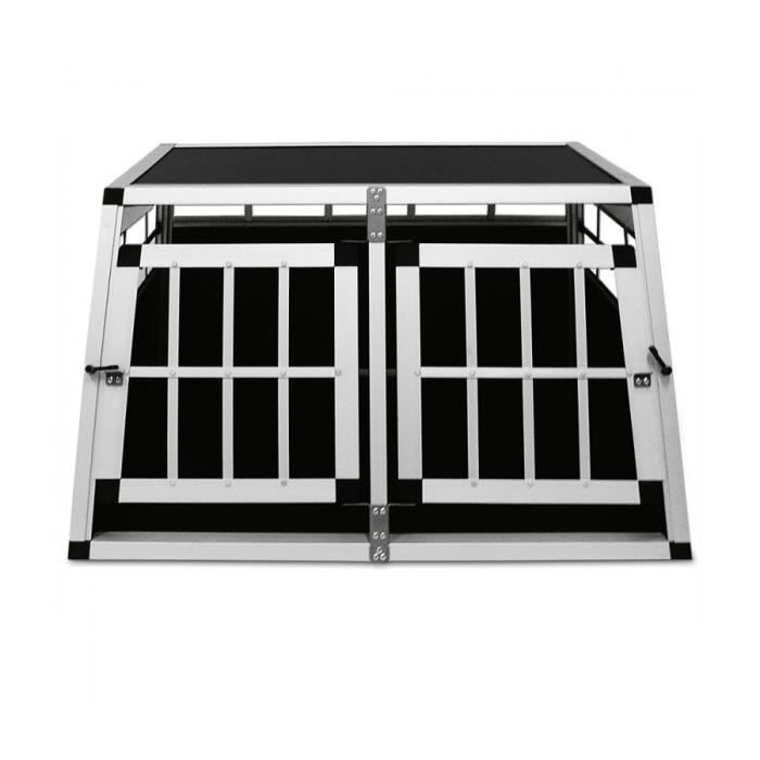 superbe cage de transport pour chien cage niche en aluminium 2 portes 90x69x50cm neuf. Black Bedroom Furniture Sets. Home Design Ideas