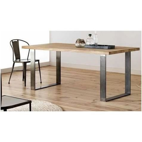 oak table manger 160 cm ch ne massif pieds en acier achat vente table a manger seule. Black Bedroom Furniture Sets. Home Design Ideas