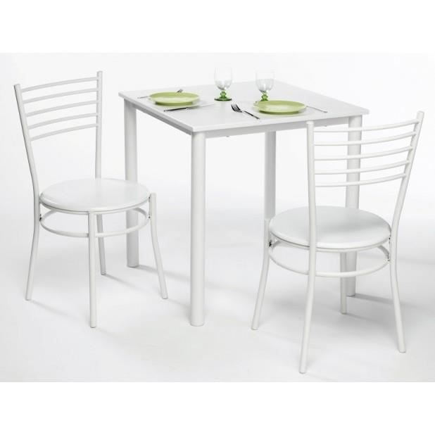 table de cuisine carree 71x71cm kilimandjaro blanc achat. Black Bedroom Furniture Sets. Home Design Ideas