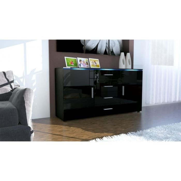 buffet laqu noir avec led 139 cm achat vente buffet. Black Bedroom Furniture Sets. Home Design Ideas