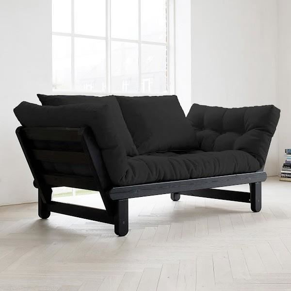 Convertible m ridienne beat noir futon noir achat for Divans convertibles
