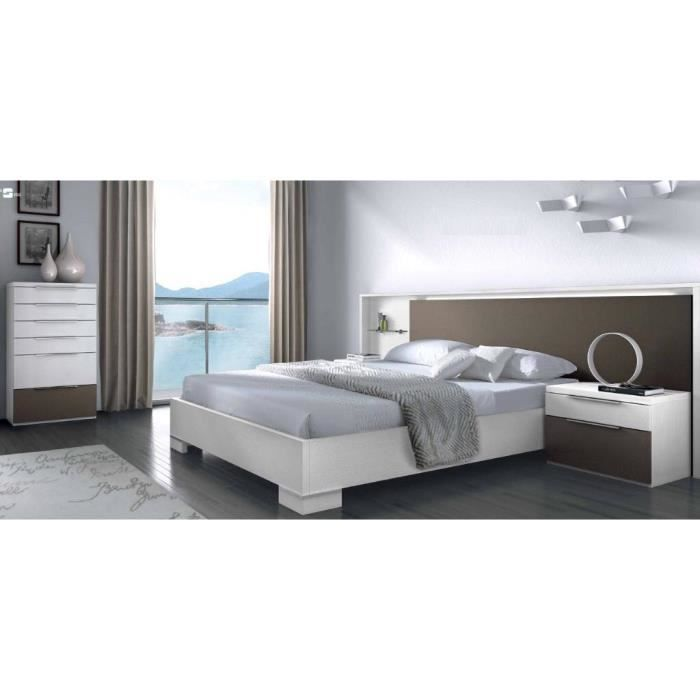 Chambre coucher moderne 140 x 190 cm achat vente for Achat chambre a coucher
