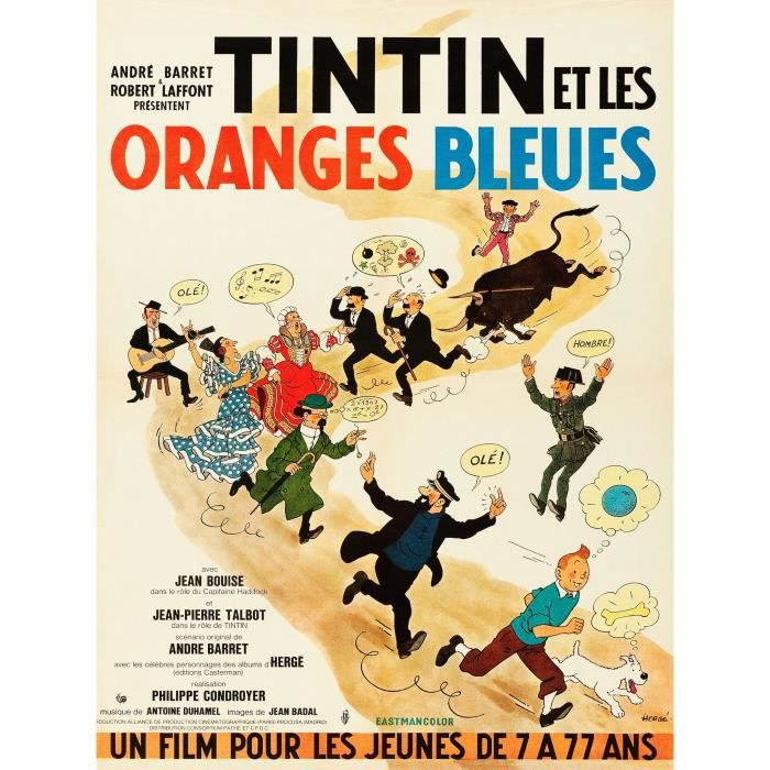 tintin et les oranges bleues repro poster 60x80 achat. Black Bedroom Furniture Sets. Home Design Ideas