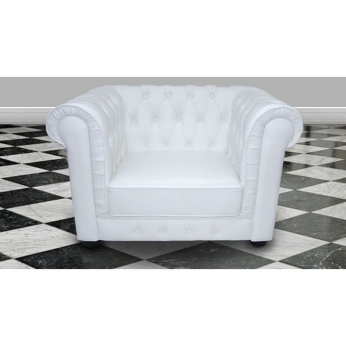 Fauteuil chesterfield 100 cuir italien blanc achat vente fauteuil mati - Fauteuil chesterfield blanc ...