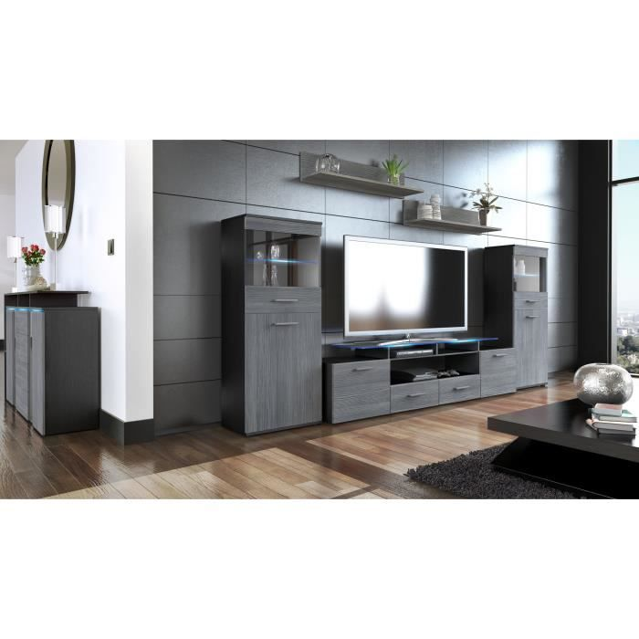 ensemble de 3 meubles tv noir et anthracite achat vente meuble tv ensemble de 3 meubles tv. Black Bedroom Furniture Sets. Home Design Ideas