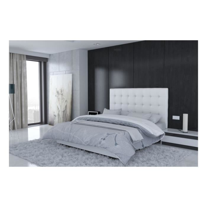 t te de lit en pu blanc rome taille 180 cm achat vente t te de lit cdiscount. Black Bedroom Furniture Sets. Home Design Ideas