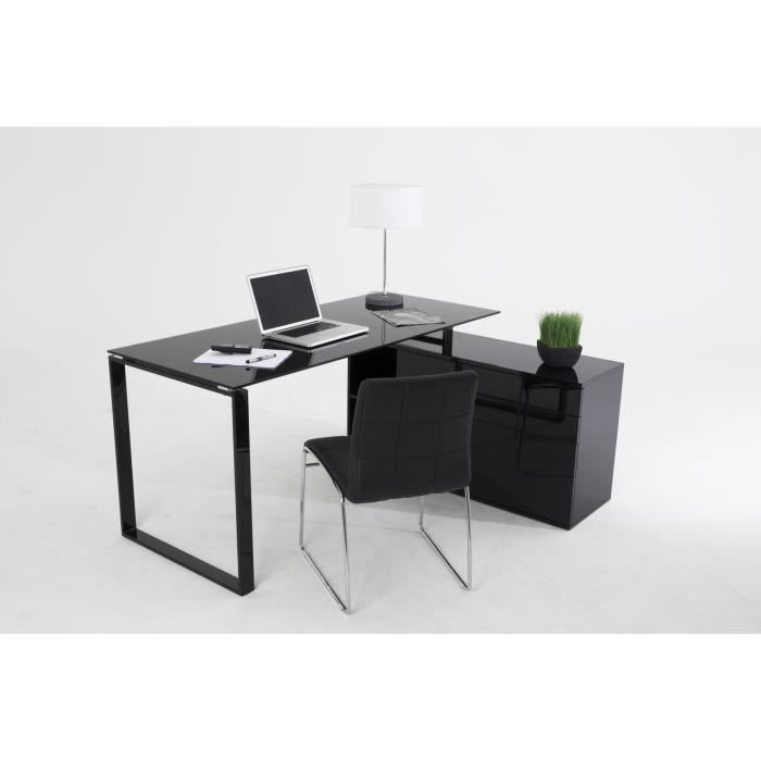officio table de bureau retour 160x70 cm noir achat vente bureau officio bureau retour. Black Bedroom Furniture Sets. Home Design Ideas