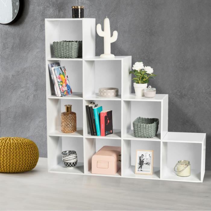 En casa ® escaliers étagère 6 compartiments Blanc séparateur de pièce niveaux étagère de bibliothèque étagère étagère
